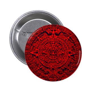 Aztec Calendar - red 6 Cm Round Badge