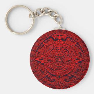 Aztec Calendar - red Basic Round Button Key Ring