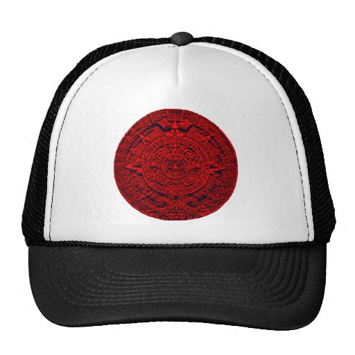 Aztec Calendar - red Trucker Hats