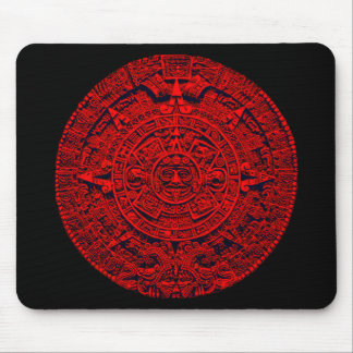 Aztec Calendar - red Mouse Pad