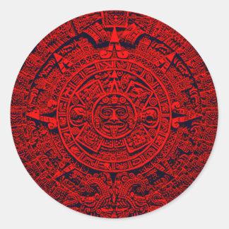Aztec Calendar - red Classic Round Sticker