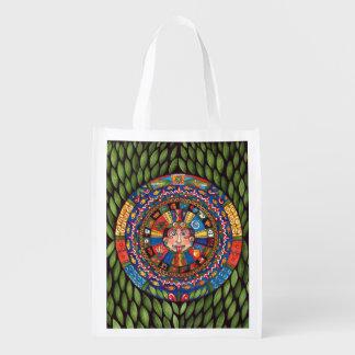 Aztec Calendar reusable grocery bag