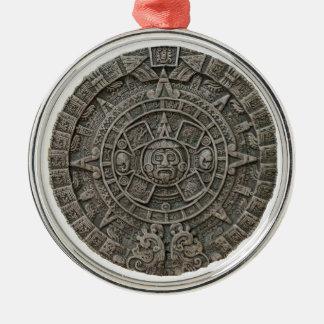 Aztec Calendar Silver-Colored Round Decoration
