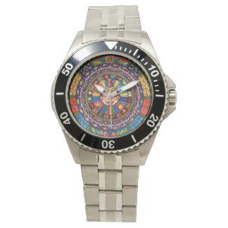 Aztec Calendar watch in white