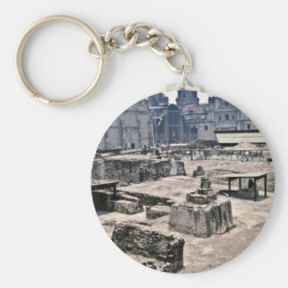 Aztec Ceremonial Grounds And Spanish Cathedral Key Chain