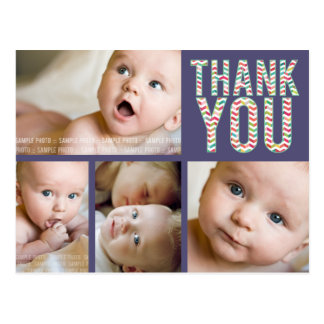 Aztec Chevron Photo Baby Thank You Post Card