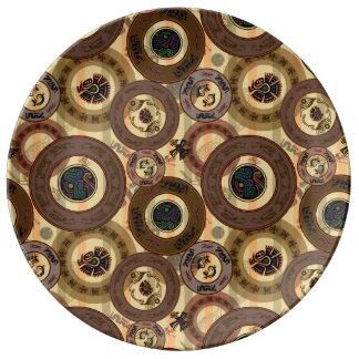 Aztec Circles Porcelain Plates