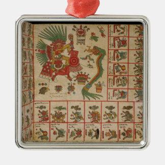 Aztec Codex Borbonicus Silver-Colored Square Decoration