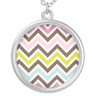 Aztec Colors - Chic Chevron Zigzag Pattern Round Pendant Necklace