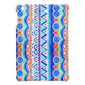 Aztec Colourful Blue Orange And White Pattern iPad Mini Covers