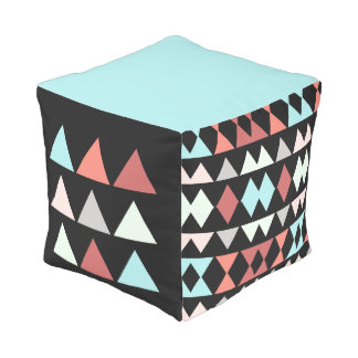 Aztec design (aqua, rose, salmon) on black pouf