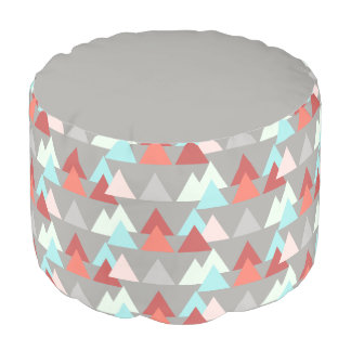 Aztec design, aqua rose salmon on gray pouf