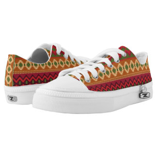 Aztec Design Print low top lace sneaker