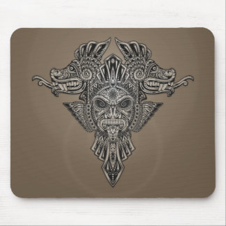 Aztec Dragons Mask (grey) Mouse Pad