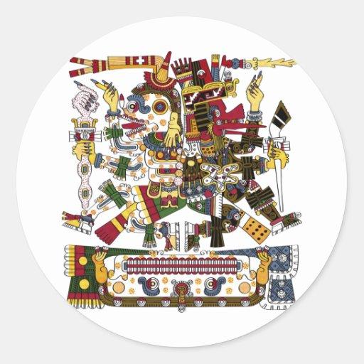 Aztec Duality Round Stickers