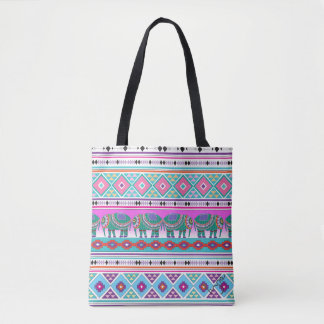 Aztec Elephants Tribal Pattern, Cool Tote Bag