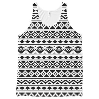 Aztec Essence II Pattern Black on White All-Over Print Singlet