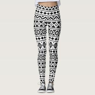 Aztec Essence Pattern II Black on White Leggings