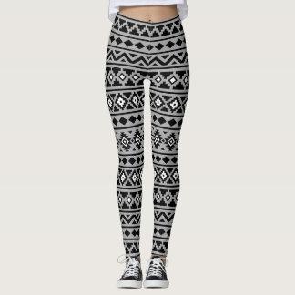 Aztec Essence Pattern II Black & White on Gray Leggings