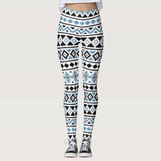 Aztec Essence Pattern II Blue Black White Leggings