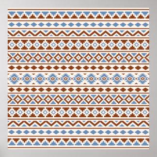 Aztec Essence Pattern II Rust Blue Cream Poster