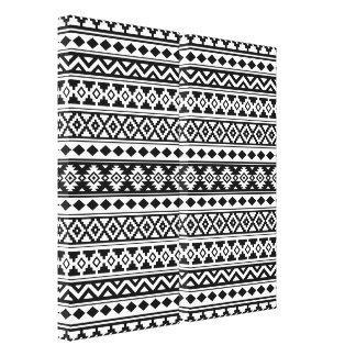 Aztec Essence Pattern IIb Black & White Canvas Print