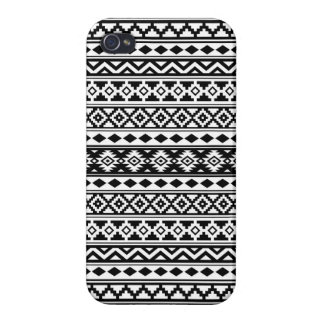 Aztec Essence Pattern IIb Black & White iPhone 4 Case