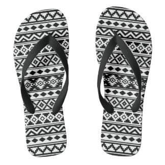 Aztec Essence Pattern IIb Black & White Thongs