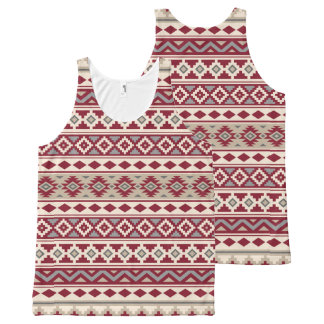 Aztec Essence Pattern IIb Red Grays Cream Sand All-Over Print Singlet