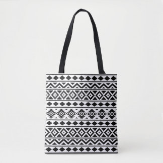 Aztec Essence Pattern III Black on White Tote Bag