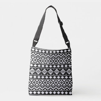 Aztec Essence Pattern III White on Black Crossbody Bag