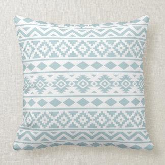 Aztec Essence Ptn III Duck Egg Blue on White Cushion