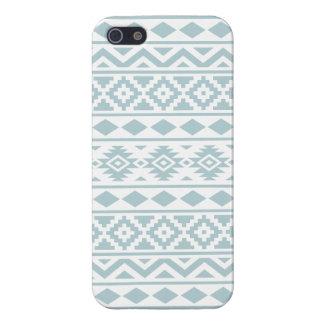 Aztec Essence Ptn III Duck Egg Blue on White iPhone 5 Case