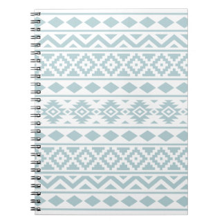 Aztec Essence Ptn III Duck Egg Blue on White Notebooks