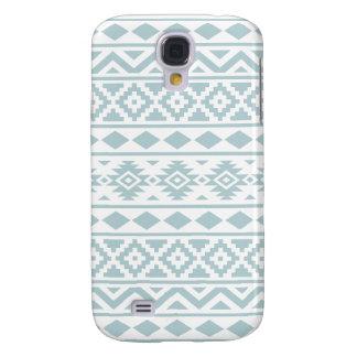Aztec Essence Ptn III Duck Egg Blue on White Samsung Galaxy S4 Case