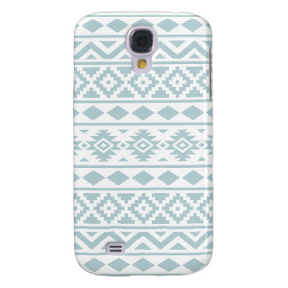 Aztec Essence Ptn III Duck Egg Blue on White Samsung Galaxy S4 Covers