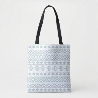 Aztec Essence Ptn III Duck Egg Blue on White Tote Bag