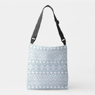 Aztec Essence Ptn III White on Duck Egg Blue Crossbody Bag