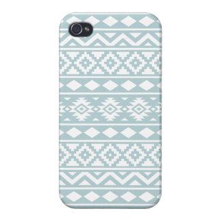 Aztec Essence Ptn III White on Duck Egg Blue iPhone 4 Case