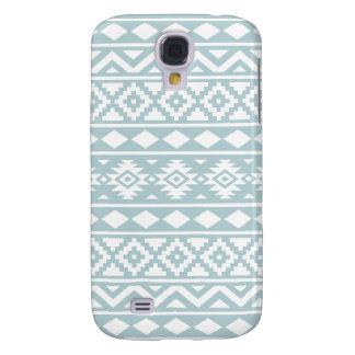 Aztec Essence Ptn III White on Duck Egg Blue Samsung Galaxy S4 Case