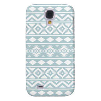 Aztec Essence Ptn III White on Duck Egg Blue Samsung Galaxy S4 Cases