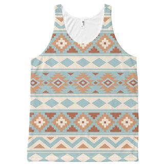 Aztec Essence Ptn IIIb Blue Cream Terracottas All-Over Print Singlet