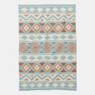 Aztec Essence Ptn IIIb Blue Cream Terracottas Tea Towel