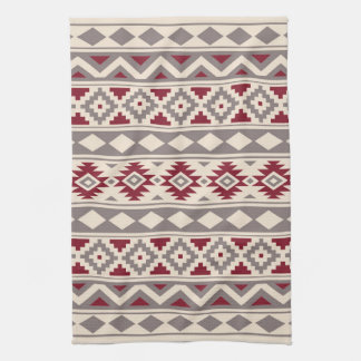 Aztec Essence Ptn IIIb Cream Taupe Red Tea Towel