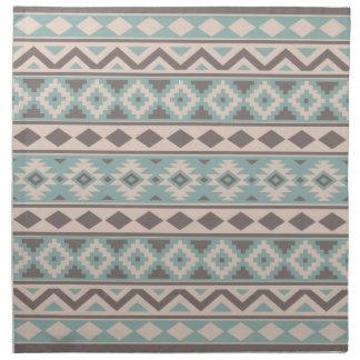 Aztec Essence Ptn IIIb Taupe Teal Cream Napkin