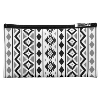 Aztec Essence (V) Pattern III Black White Gray Makeup Bag