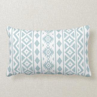 Aztec Essence (v) Ptn III Duck Egg Blue on White Lumbar Cushion