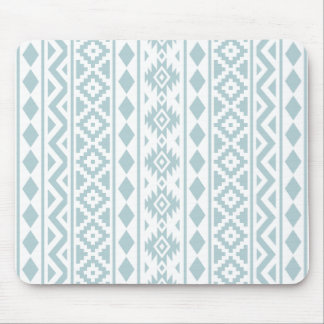 Aztec Essence (v) Ptn III Duck Egg Blue on White Mouse Pad