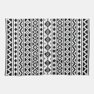Aztec Essence Vertical Ptn II Black on White Tea Towel