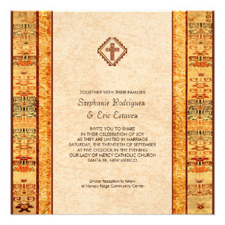 Aztec Fiesta Christian Cross Square Wedding Custom Invitation